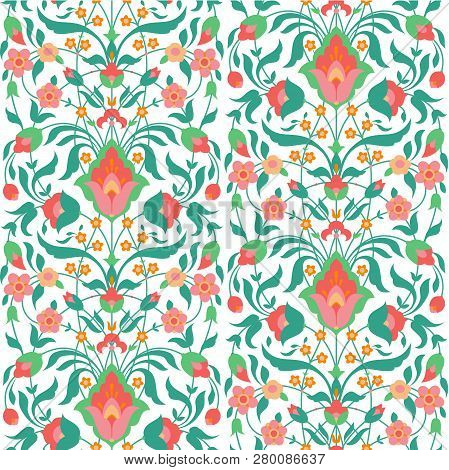 Floral Seamless Pattern In Oriental Style, Vector Illustration