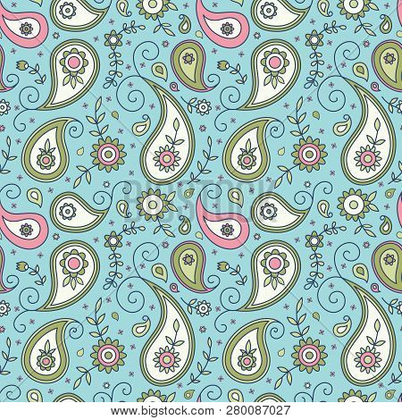 Paisley And Flowers Traditional Floral Seamless Pattern