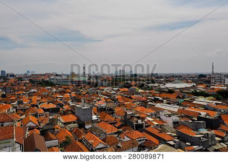 Aerial Cityscape Densely Built Asian City. Urban Environment In Asia. Modern City Surabaya With Buil