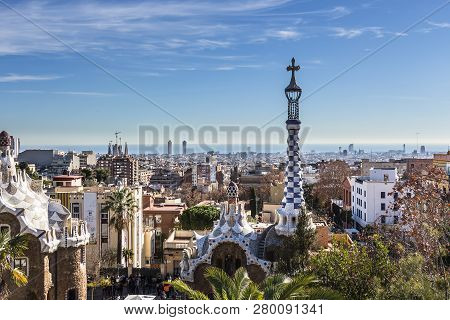 City View Of Barcelona From Park Guell