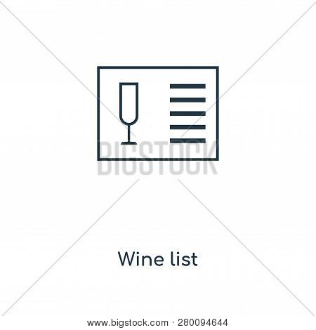 Wine List Icon In Trendy Design Style. Wine List Icon Isolated On White Background. Wine List Vector