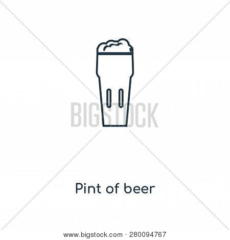 Pint Of Beer Icon In Trendy Design Style. Pint Of Beer Icon Isolated On White Background. Pint Of Be