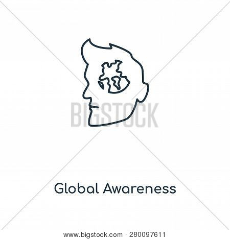 Global Awareness Icon In Trendy Design Style. Global Awareness Icon Isolated On White Background. Gl