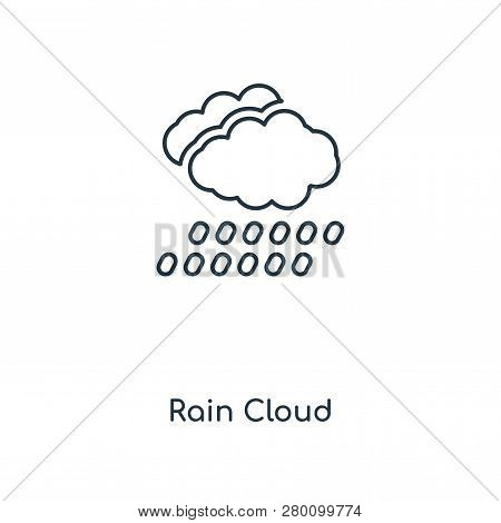 Rain Cloud Icon In Trendy Design Style. Rain Cloud Icon Isolated On White Background. Rain Cloud Vec