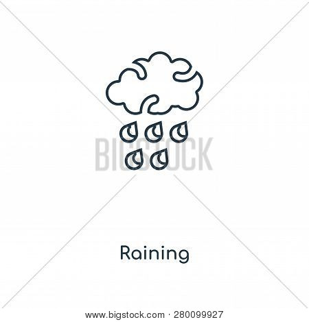 Raining Icon In Trendy Design Style. Raining Icon Isolated On White Background. Raining Vector Icon