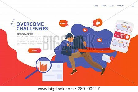 Overcome Challenge Vector Illustration: Businessmen With Ambitious Goals Overcoming Obstacles Got Wi