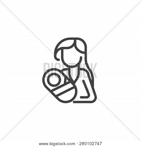 Woman Holding Newborn Baby Line Icon. Linear Style Sign For Mobile Concept And Web Design. Motherhoo
