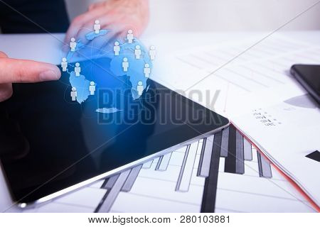 Businessman Touching Global Network And Data Exchanges Over The World.