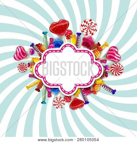 Candy Shop Frame Template Background With Set Of Different Colors Of Candy, Candy, Sweets, Chocolate