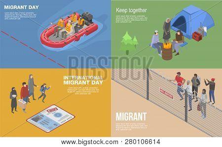 Migrant refugee banner set. Isometric set of migrant refugee banner for web design poster