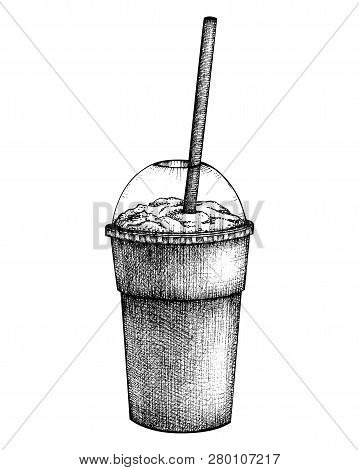Hand Drawn Milkshake Sketch. Milk Cocktail Vector Illustrations. Fast Food Design Template. Sweet Dr