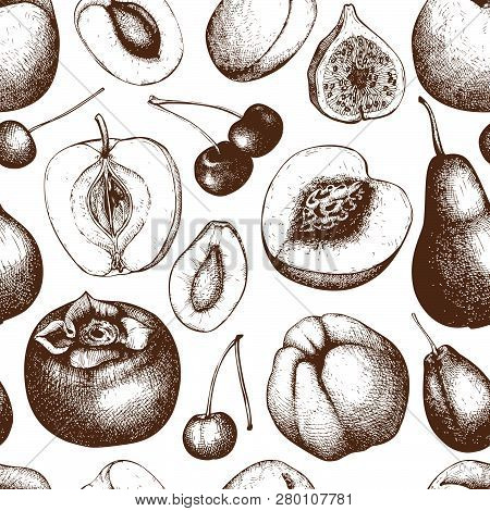Vintage Fruits And Berries Background - Fig, Apple, Pear,  Peach, Apricot, Persimmon, Pomegranate, Q