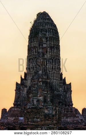 Wat Chaiwatthanaram Main Central Prang Taken Upclose During Sunset Hours. Ayutthaya, Thailand