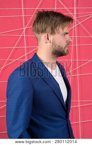 Manager Dress Code. Man Well Groomed Manager Wear Elegant Formal Suit Pink Background. Manager Confi