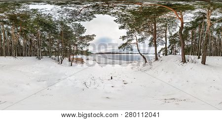 Winter Full Spherical Seamless Panorama 360 Degrees Angle View On Road In A Snowy Park With Gray Pal