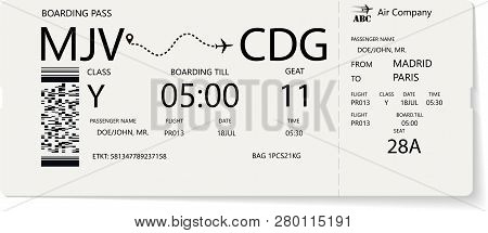 Vector Pattern Of A Boarding Pass And Air Ticket. Realistic Variant Of Airplane Ticket. Concept For
