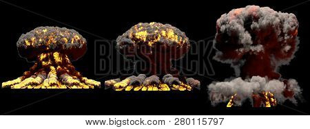 3 big different phases fire mushroom cloud explosion of fusion bomb with smoke and flames isolated on black background - 3D illustration of explosion poster