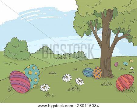 Easter Egg Graphic Color Landscape Sketch Illustration Vector