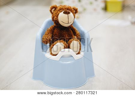 Beautiful Brown Bear Toy On Baby Potty.