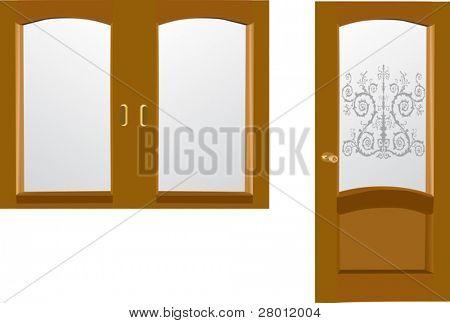 Ilustración con puerta y ventana, aislado sobre fondo blanco