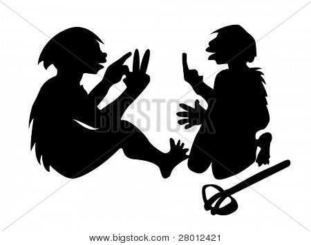 two neanderthal mans on white background