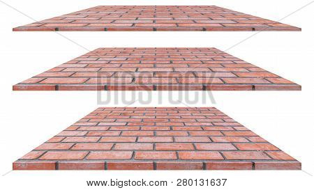 Brick Wall Isolated On White Background. Brick Wall Texture Or Brick Wall Background. Brick Wall For