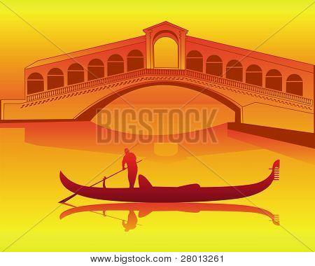 Venetian Gondola From The Rialto Bridge