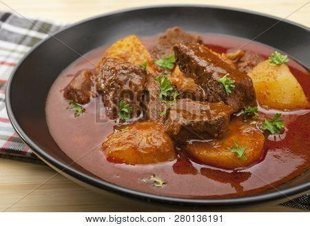 Hungarian Beef Goulash, Somewhere Between A Soup And A Stew, Made With Economical Beef Chuck Steak,
