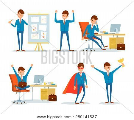 Businessman Director On Seminar Giving Presentation Vector. Leader Talking On Phone In Office, Man W