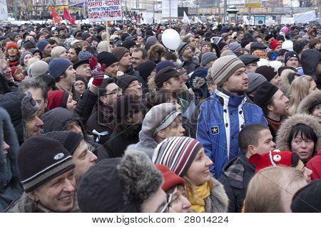 Russland, Moskau Dezember 24:120 Tausende von Demonstranten zu in Akademiemitglied Sakharov Aussicht auf t