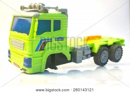 Truck Broken Wheel Car Toy Child Lorry Green Close Up With White Background