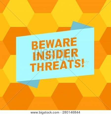 Handwriting text writing Beware Insider Threats. Concept meaning Be cautious on malicious attack inside the network Blank Color Folded Banner Strip Flat Style photo for Announcement Poster. poster