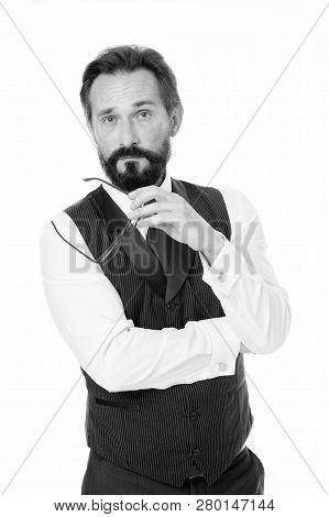 Hard Decision. Businessman Classic Formal Clothing Take Off Eyeglasses While Making Decision. Busine