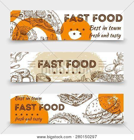 Sketched Fast Food Vector Banners Template Design. Illustration Of Sketched Fast Food And Snack Sket