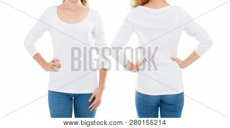 White T-shirt Set,woman With Long Sleeves Front And Back Isolated On White Background