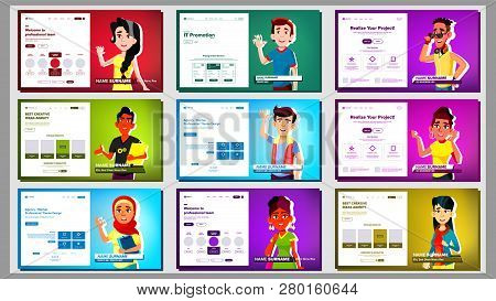Self Presentation Banner Set Vector. Multiracial Person. Female, Male. Introduce Yourself Or Your Pr