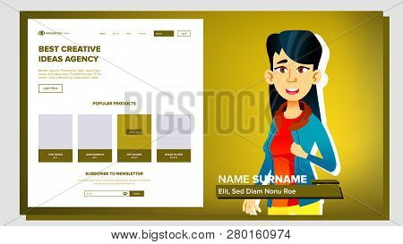 Self Presentation Vector. Asian Female. Introduce Yourself Or Your Project, Business. Illustration