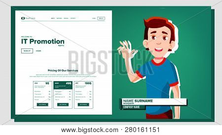 Self Presentation Vector. Caucasian Male. Introduce Yourself Or Your Project, Business. Illustration