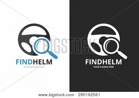 Vector Car Helm And Loupe Logo Combination. Steering Wheel And Magnifying Symbol Or Icon. Unique Rud