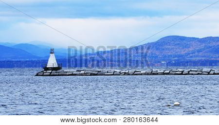 The Harbor In Burlington, Vermont With Lighthouse