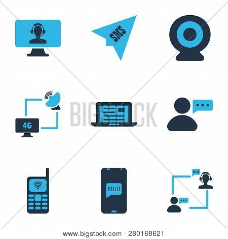 Communication Icons Colored Set With Communication Via Laptop, Ip Camera, Send Sms And Other Origami