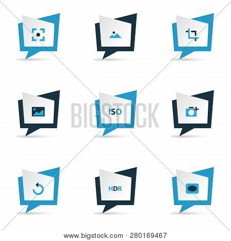 Image Icons Colored Set With Vignette, Hdr, Center Focus And Other Photographing Elements. Isolated