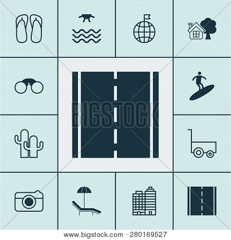 Tourism Icons Set With Sea, Field Glasses, Thongs And Other Boardsports Elements. Isolated Vector Il
