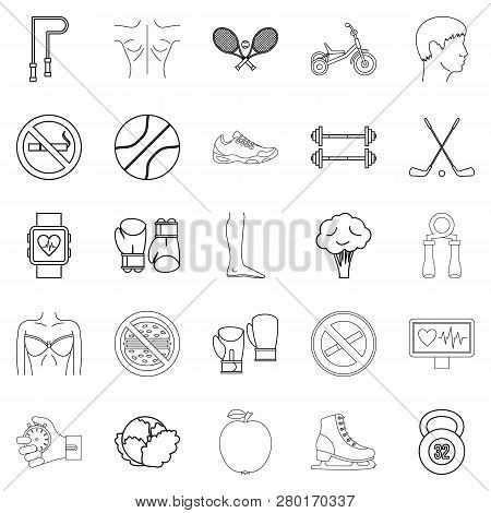 Workout Icons Set. Outline Set Of 25 Workout Icons For Web Isolated On White Background