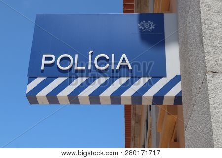 Cascais, Portugal - May 21, 2018: Police Station In Cascais, Portugal. The Full Name Of The Portuges