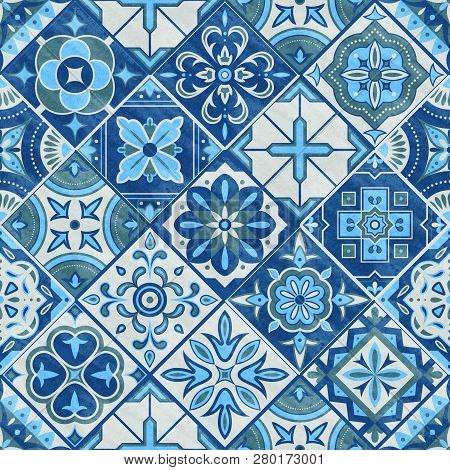 Seamless Patchwork Tile In Blue, Gray And Green Colors. Vintage Ceramic Tiles Vector Illustration. F
