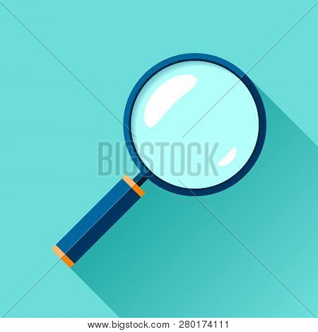 Magnifying Glass Icon In Flat Style. Search Loupe On Color Background. Vector Design Object For You
