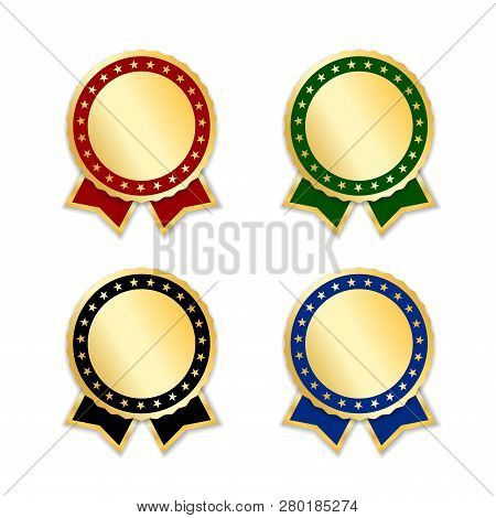 Award Ribbons Isolated Set. Gold Design Medal, Label, Badge, Certificate. Symbol Best Sale, Price, Q