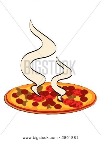 Pizza With Steam.Eps