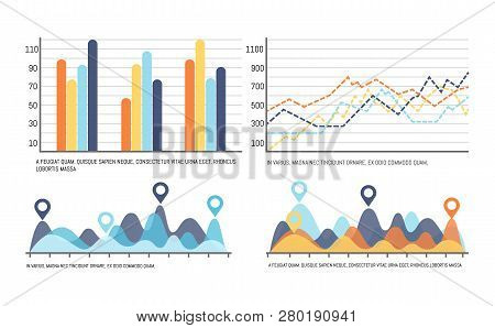 Infographic With Curves, Increasing Data Results Vector. Flowcharts With Numbers Scales, Location Po